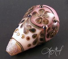 English Tudor Lampwork Focal Bead