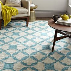 Tile Wool Kilim Rug - Aquamarine  I like the pattern on this, I don't know if it would be overwhelming if it was large, in a living room. Also looks scratchy. Maybe for a dining room?