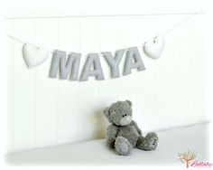 Personalized felt name banner wall art nursery decor - light gray and white hearts - nursery decor - MADE TO ORDER by LullabyMobiles on Etsy