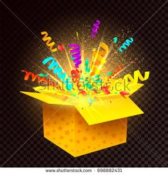 Open Surprise Box On A Transparent Background An 3d Gift With Confetti Explosion