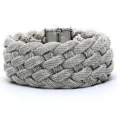 Affordable Chic Jewelry Silver Braided Metal Mesh Wide Magnetic Closure Bracelet Statement *** Read more reviews of the product by visiting the link on the image. (This is an affiliate link) #NiceJewelry