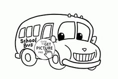School Bus coloring page for kids, transportation coloring pages printables free - Wuppsy.com