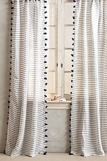 anthropologie navy stripe pom pom curtains