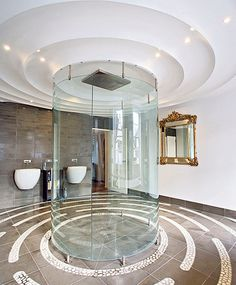"""he shower in this house looks like the Star Trek transporter used by the crew to """"beam"""" around the galaxy. Bathroom Design Luxury, Bathroom Interior, Bathroom Ideas, Dream Bathrooms, Beautiful Bathrooms, Luxury Bathrooms, Character Home, Bathroom Styling, My Dream Home"""