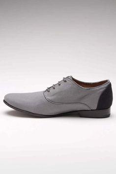 Grey canvas oxfords