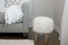 DIY Faux Fur Stool — Sewing project and tutorial by @colorsandcraft for @Fabric.com - Made with our Mongolian Faux Fur in Off-White http://www.shannonfabrics.com/faux-fur/solids/mongolian-fur-off-white - a fun home dec project!
