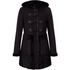Black Suedette Contrast Toggle Front Coat ($85) ❤ liked on Polyvore featuring outerwear, coats, black toggle coat, toggle button coat, long sleeve coat, hooded coats and black hooded coat