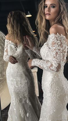 olivia bottega 2018 bridal long sleeves off rhe shoulder sweetheart neckline heavily embellished bodice elegant mermaid wedding dress sheer lace button back chapel train (4) zv -- Olivia Bottega 2018 Wedding Dresses