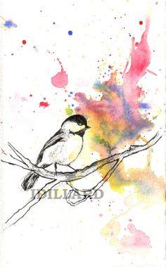 Chickadee Bird Painting in a Splash of Color by idillard on Etsy, $18.00