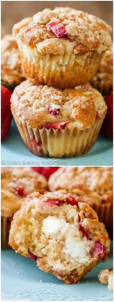 Soft strawberry studded muffins layered with a light cheesecake filling and topped with brown sugar streusel. A necessary indulgence any morning of the week. Recipe on sallysbakingaddiciton.com