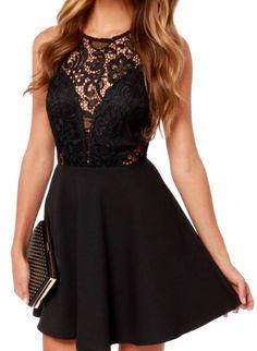 Black Sleeveless Backless Lace Ruffle Dress 17.00