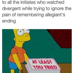 Everything in my mind kept coming back to allegaint and I couldn't take it when *no spoilers* that one women died in the alley with tris. If u have read it u know what I am talking about the part in the end.