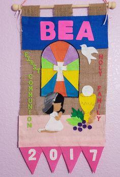 Communion Banners, First Communion Banner, Glitter Glue, Gold Glitter, Foam Letters, Felt Banner, Pearl Headband, Pearl Beads, Veil