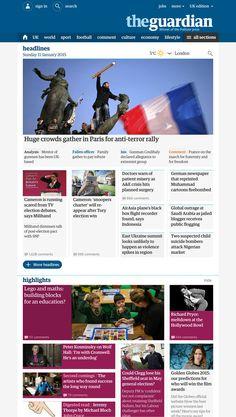 The Guardian Responsive Website | Digital Newspaper Website Design for Desktop and Mobile | Award-winning Graphic Design | D&AD