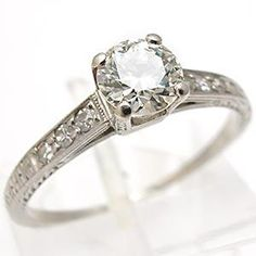 ART DECO ANTIQUE TRANSITIONAL CUT DIAMOND ENGAGEMENT RING SOLID PLATINUM