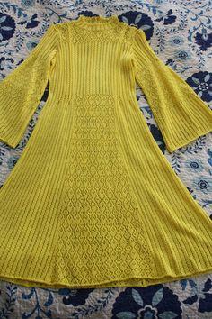 1960s Vintage Crocheted Yellow Dress. $50.00, via Etsy.