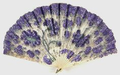 "Fan: circa late to century, sheer silk plain weave with paint and metal sequins, bone sticks and guards. ""A decorative scheme of large carnations and dense violets covers the entire surface of this fan. Antique Fans, Vintage Fans, Victorian Women, Victorian Fashion, Victorian Era, Hand Held Fan, Hand Fans, Elegante Y Chic, Bijoux Art Nouveau"