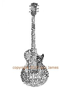 Electric Guitar Art Typography Drawing, Gibson Les Paul style Guitar Word Art Tyopography Calligram Guitar Illustration, Art for Musicians