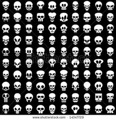 stock vector : one hundred different skulls on black background