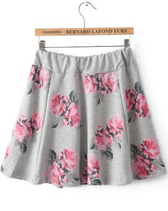 Grey Elastic Waist Floral Skirt | Sheinside