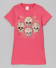 Take a look at this Hot Pink Sugar Skull Hockey Tee - Infant, Toddler & Girls by Micro Me on #zulily today!