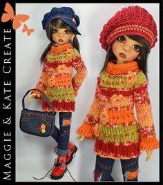 """**OOAK Casual ** Outfit for Kaye Wiggs 18"""" MSD BJD by Maggie & Kate Create"""