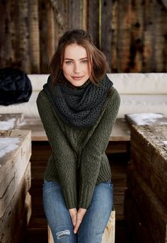 Fall style   Green knitted sweater, jeans and a grey scarf