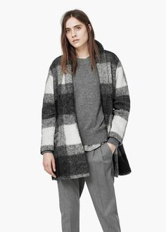 Check wool-blend coat | MANGO