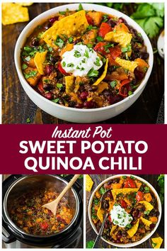 Pot Vegetarian Chili with black beans, quinoa and sweet potatoes. - Instant Pot Vegetarian Chili with black beans, quinoa and sweet potatoes. Simple,… -Instant Pot Vegetarian Chili with black beans, quinoa and sweet potatoes. Quinoa Chili, Veggie Chili, Chili Chili, Venison Chili, Bean Chili, Healthy Recipes, Chili Recipes, Whole Food Recipes, Chili Recipe Not Spicy