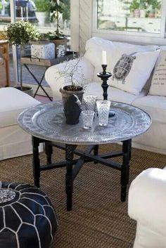 White on Black Moroccan Leather Pouf Design Marocain, Style Marocain, Moroccan Table, Morrocan Decor, Moroccan Lanterns, Moroccan Leather Pouf, Moroccan Pouf, My Living Room, Living Room Decor