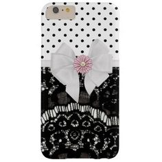 Trendy Girly Elegant Black Lace Polka Dots Pattern Barely There iPhone 6 Plus Case #PinkAndBlackObsession