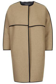 PETITE Collarless Blanket Coat