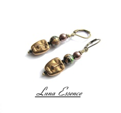 Earrings Masquerade Golden Beaded by LunaEssence on Etsy, $25.00