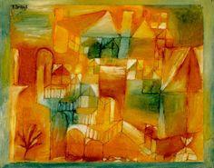 Paul Klee  'Fascade Braun-Grun'  1919  Olio,matita e penna su carta su cartone dipinto   24 x 31 cm