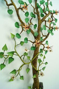orgami bonsai ! newspaper, paint, paper