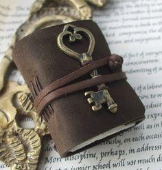 Golden Key journal - mini book with skeleton key in chocolate leather. Under Lock And Key, Key Lock, Antique Keys, Vintage Keys, Raindrops And Roses, Golden Key, Key Jewelry, Jewelery, Old Keys