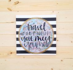 Travel Far Enough 12x12 map canvas quote by luckylanestudio