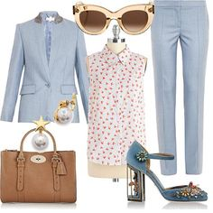 | Women's Outfit | light blue blazer and pants + red and white blouse with hearts + crystal  embellished sandals + pearl earings + brown bag + sunglasses