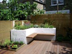 Jenny Bloom raised beds, inbuilt bench