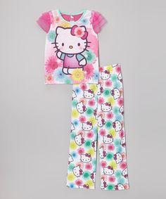 Loving this Purple & Aqua Hello Kitty Pajama Set - Girls on #zulily! #zulilyfinds