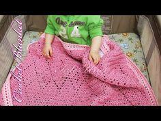 Pink baby blanket – diamond stitch blanket crochet pattern - YouTube