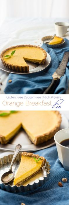 Gluten Free Orange Pie with Almond Crust - This easy, healthy orange pie uses a secret ingredient to make it PACKED with protein and low in calories! It's perfect for breakfast, snack or dessert!   Foodfaithfitness.com   @FoodFaithFit