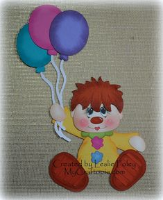 Floating Clown Scrapbooking Embellishment Paper by MyCraftopia, $6.95