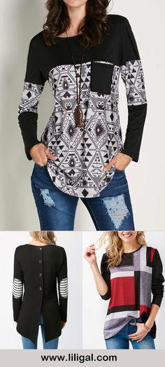 long sleeve t shirts, black long sleeve t shirts for women, long sleeve tops for women, printed tops for women, fall tops, long sleeve blouses