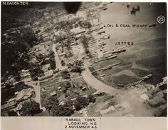 Pacific Air War Archive | Rabaul Town Looking Northeast--2 November 1943. A combat photograph of Rabaul, East New Britain, Papua New Guinea taken on 2 November 1943. This photo was later used for intelligence purposes.