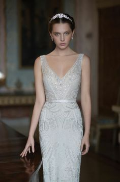 Wedding Gown alon livne white 2015 bridal butterfly sleeveless embellished sheath wedding dress straps v neckline front - Alon Livne White 2015 bridal couture collection. Even after overdosing on all the glitz, glam and couture at Wedding Dresses With Straps, Wedding Dress Trends, Wedding Dress Sleeves, Dream Wedding Dresses, Bridal Dresses, Wedding Gowns, Art Deco Wedding Dress, Art Deco Dress, Flapper Dresses