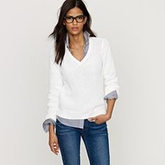 Button up shirt under a white sweater...love this outfit
