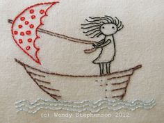 Girl in the boat with a red umbrella embroidery