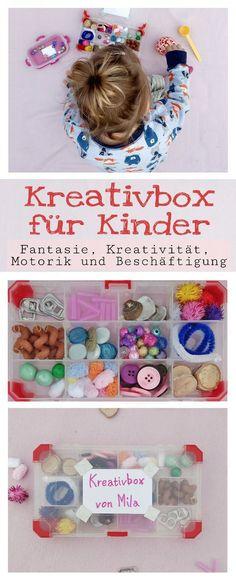 Mit der Kreativbox können Kinder ihrer Fantasie freien Lauf lassen. Basteln, umfüllen, sortieren und spielen. Eine tolle Beschäftigung.