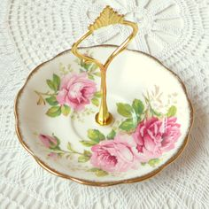 High Tea for Alice Pink Roses Saucer Stand, Vintage Royal Albert China Display for Jewelry, Macaroons, Candy, Soap, Cookies or Business Cards...